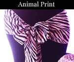 Chair sash with zebra print design, other prints available